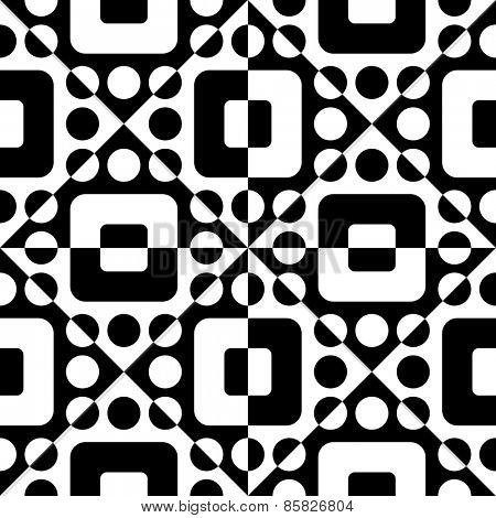 Seamless Square, Triangle and Circle Pattern. Abstract Black and White Background. Vector Regular Texture