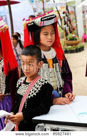 Thailand Hill Tribe Girl And Boy With Traditional Costume