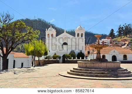 White colonial architecture in Sucre, Bolivia