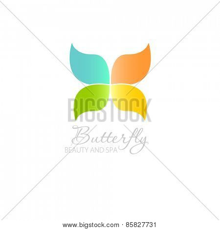 Vector illustration with Butterfly symbol. Logo design.  For beauty salon, spa center, health clinic