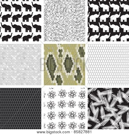 large set of seamless pattern with elephants.  Snake skin texture Seamless pattern python. pattern o