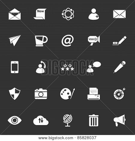 Message And Email Icons On Gray Background