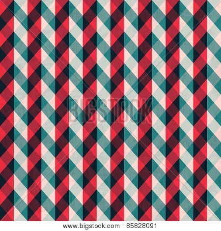Red Tissue Seamless Pattern With Blue Stripes