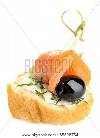 Canape salmon isolated on white