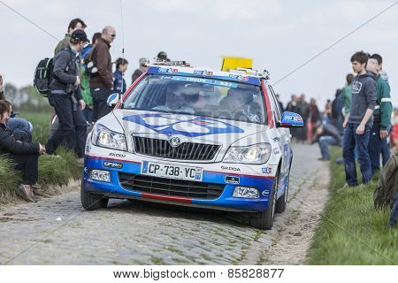 The Car Of Fdj.fr Team On The Roads Of Paris Roubaix Cycling Race