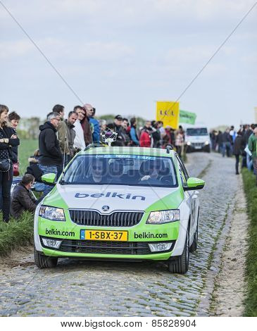 The Car Of Belkin team On The Roads Of Paris Roubaix Cycling Race