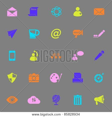 Message And Email Color Icons On Gray Background