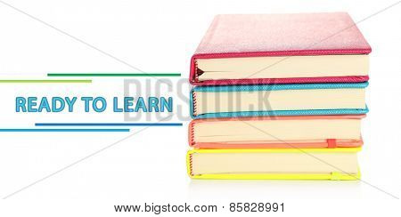 Colorful notebooks, isolated on white