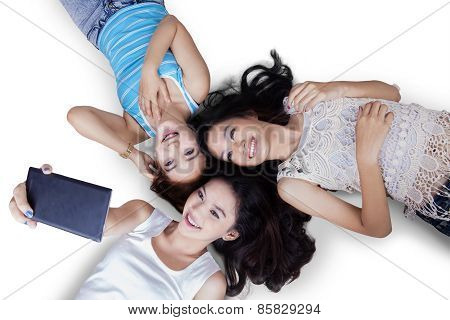 High Angle View Of Teenage Girls