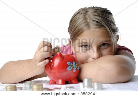 School Girl And Piggy Bank