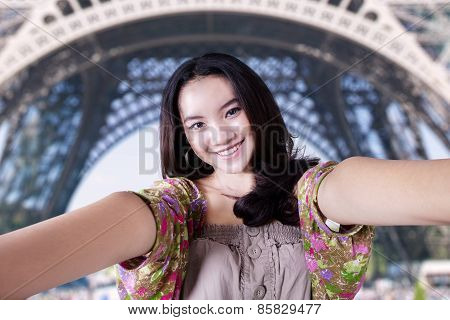 Lovely Teenage Girl At Eiffel Tower