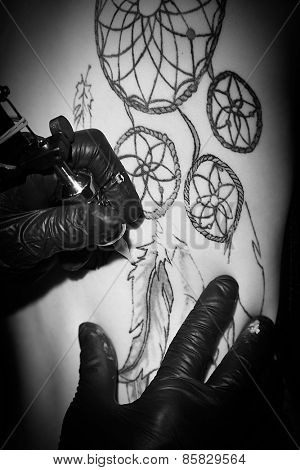 Process of making tattoo, close up