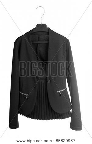 School uniform jacket and skirt, isolated on white