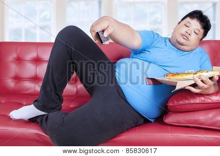 Overweight Man Eats Pizza 3