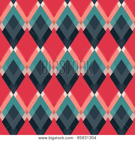 Retro Red Rhombus Seamless Pattern