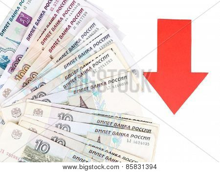 Red arrow on Russian money as depreciation of currency isolated on white
