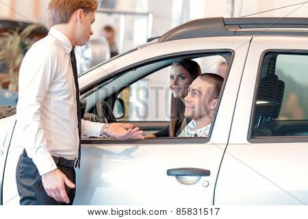 Customers inside the car