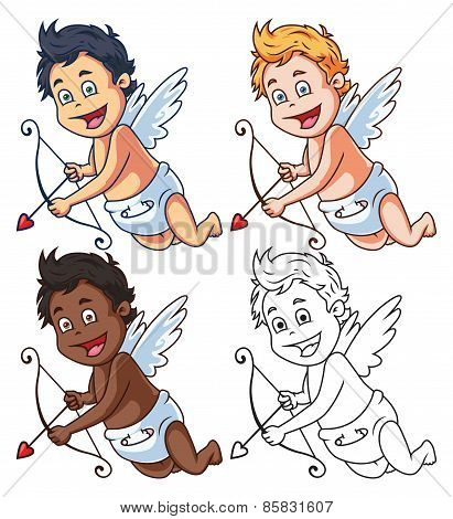 Cartoon Vector Cupid with Bow and Arrow Set