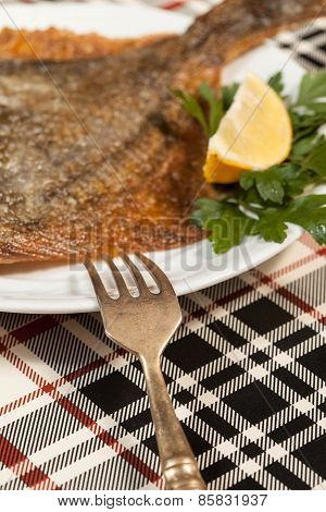 Fried Flounder. Selective Focus.