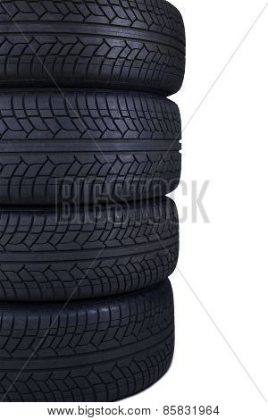 Stack Of Black Tires Isolated