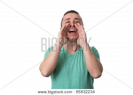 Man Screaming Out Loud Isolated On White Background