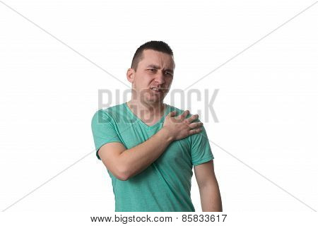 Young Man With Shoulder Pain - White Background