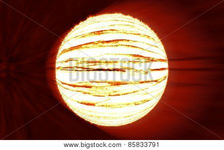 Bright Planet Explosion Flash On A Red Backgrounds