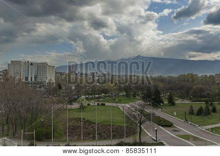View to mountain Vitosha and Hotel Hilton in Sofia city