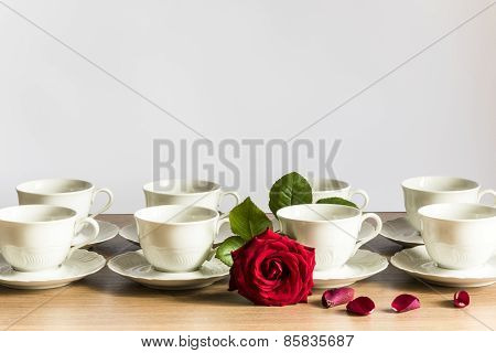 cups of tea with red rose, series,