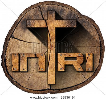 Inri - Wooden Cross On Tree Trunk