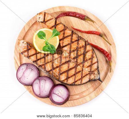salmon steaks on platter