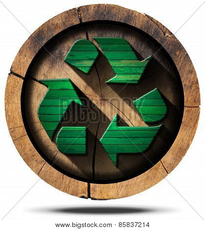 Recycle Symbol On Tree Trunk