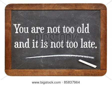 You are not too old and it is not too late.Motivational words on a vintage slate blackboard.