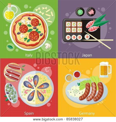 Italy, Japan, Spain and Germany food