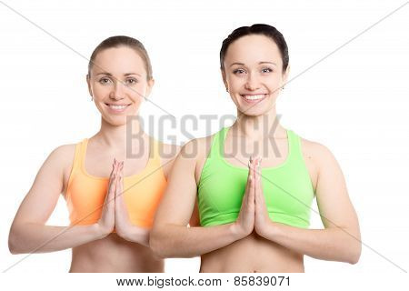 Yoga With Companion, Namaste Gesture
