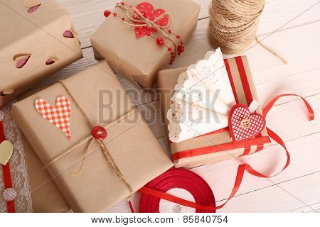 Beautiful gift box on wooden table, close-up. Valentine Day concept