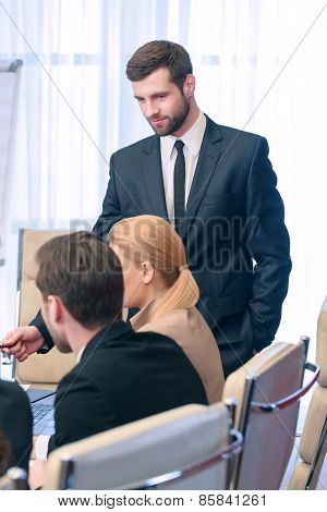 Business meeting leader
