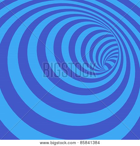 Stock Vector Illustration of Abstract Twisted Bluish Striped Tunnel