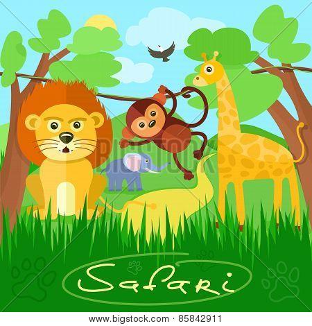 Cute african safari animals