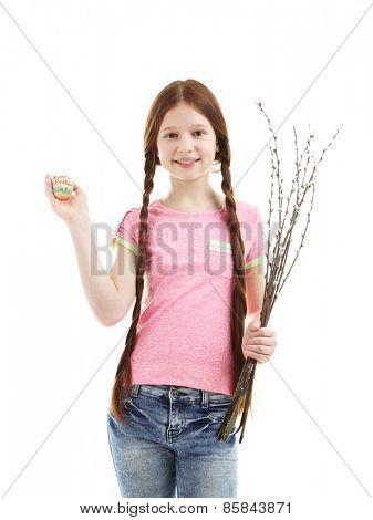 Beautiful little girl with pussy-willow branches, isolated on white