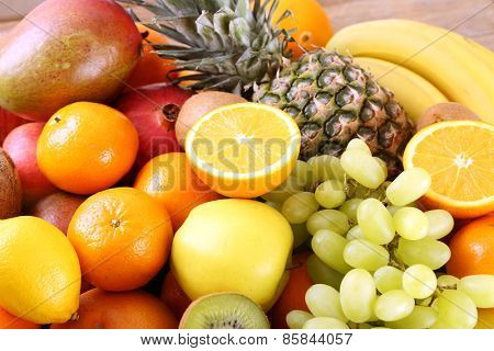 Assortment of exotic fruits close-up