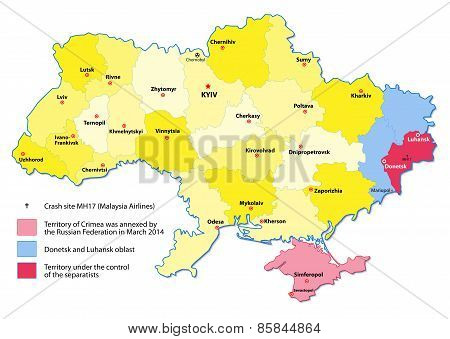 Ukraine Map. Events 2014-2015