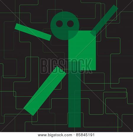 Abstract Green Geometric Stylized Character