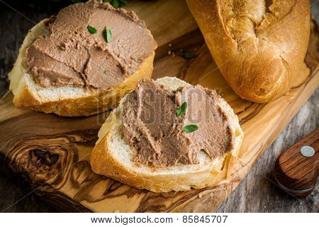 Sandwiches With Homemade Chicken Liver Pate For Breakfast