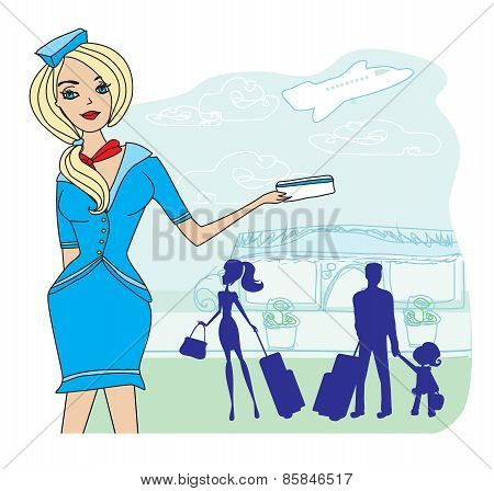 Beautiful Stewardess With Ticket