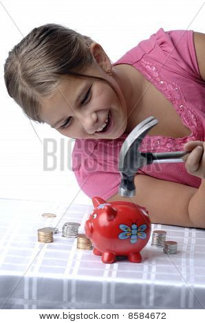 School Girl And Piggy Bank