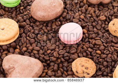 Sweets on coffee beans