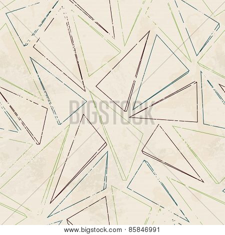 Triangle Contour Seamless Pattern With Grunge Effect