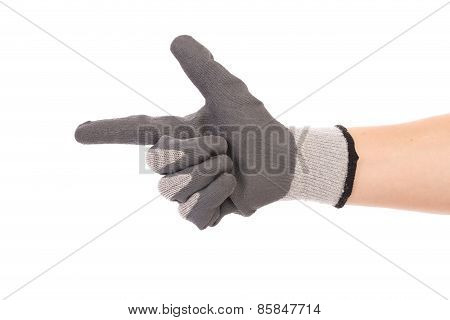 Rubber protective gray glove.