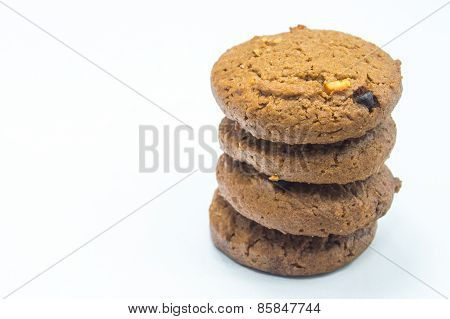 Chocolate homemade pastry biscuits isolated